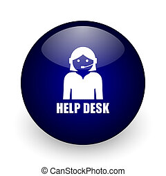 Help desk blue glossy ball web icon on white background. Round 3d render button.