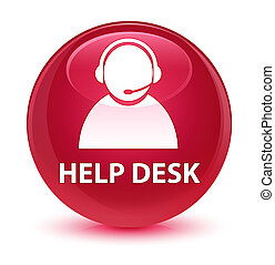 Help desk (customer care icon) glassy pink round button