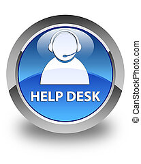 Help desk (customer care icon) glossy blue round button