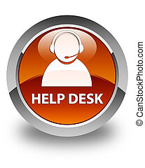 Help desk (customer care icon) glossy brown round button
