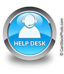 Help desk (customer care icon) glossy cyan blue round button