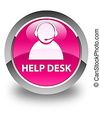 Help desk (customer care icon) glossy pink round button