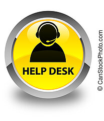 Help desk (customer care icon) glossy yellow round button