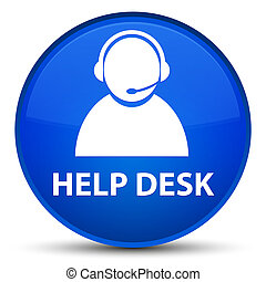 Help desk (customer care icon) special blue round button