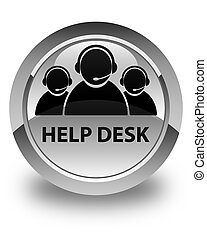 Help desk (customer care team icon) glossy white round button