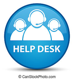 Help desk (customer care team icon) special cyan blue round button