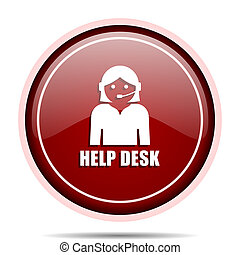 Help desk red glossy round web icon. Circle isolated internet button for webdesign and smartphone applications.