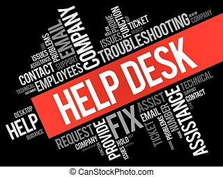 Help Desk word cloud collage, business concept background