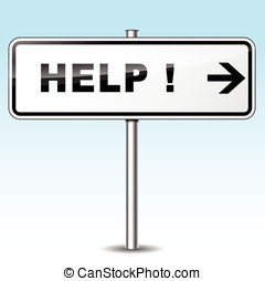 help directional sign - Illustration of help sign on sky...