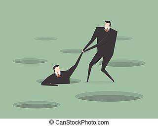 help - Businessman helping another. Business concept cartoon...