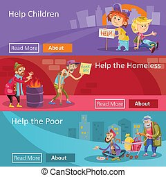 Help for homeless and poor people vector illustration web banners for social charity project or organization