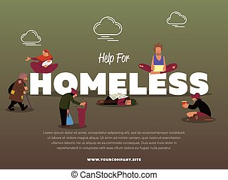 Help for homeless banner with hungry beggar holding message...
