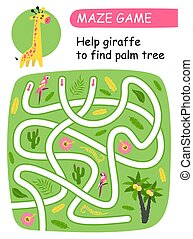 Help giraffe to find palm tree. Maze game for kids.