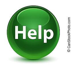 Help glassy soft green round button