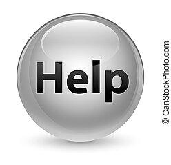 Help glassy white round button