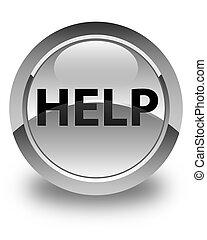 Help glossy white round button