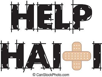 Help Haiti Text 4 - Vector Illustration to Help Haiti with a...