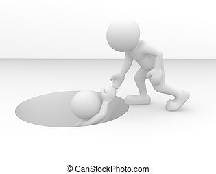Help hole - 3d people - human character out of the hole. 3d ...