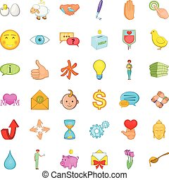 Help icons set, cartoon style