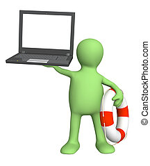 Help in the virtual world - Internet concept - help in the...