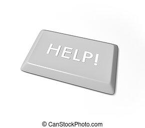 Help Key - Isolated on White