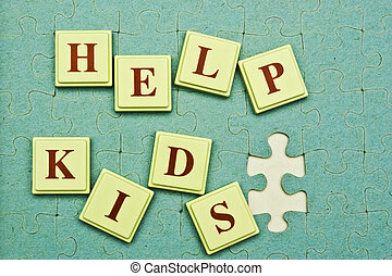 Help Kids! - Help Kids spelled out in colored blocks and ...