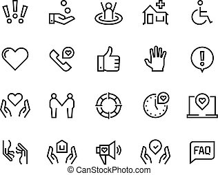 Help line icons. Support health care, manual faq guide, family life care community charity donate. Help and support set