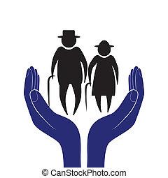 help., mão, encorajamento, pessoas