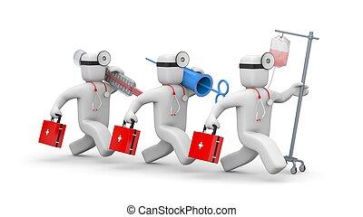 help., medizinische abbildung, mannschaft, eile, 3d