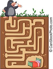 Help mole to find way home - Vector illustration of Help...