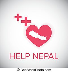 help nepal heart and plus red symbol on white shadown...