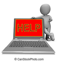 Help On Laptop Showing Helping Customer Service Helpdesk Or Support