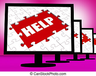 Help On Monitor Shows Customer Helpline Helpdesk Or Support