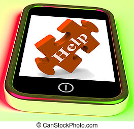 Help On Phone Showing Mobile Helping Customer Service Helpdesk Or Support
