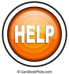help orange glossy icon isolated on white background