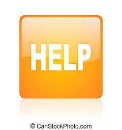 help orange square glossy web icon