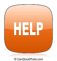help orange square web design glossy icon