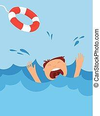 help., peligro, estridente, hombre, verano, ahogo