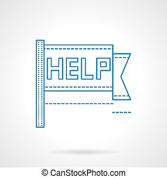 Help pennon blue flat line vector icon
