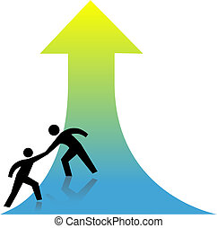 Person lends a helping hand to success up arrow to a friend.
