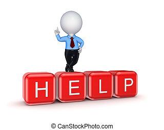 help., persona, piccolo, parola, 3d