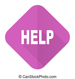 help pink flat icon