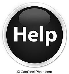 Help premium black round button