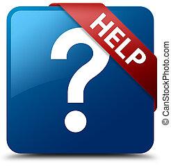 Help (question icon) blue square button red ribbon in corner