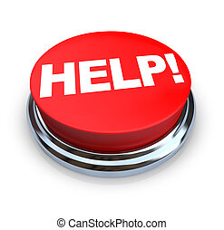 Help - Red Button - A round, red button on a white...