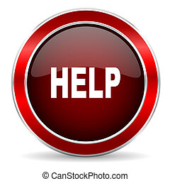 help red circle glossy web icon, round button with metallic border