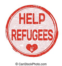 Help Refugees stamp - Help Refugees grunge rubber stamp on...