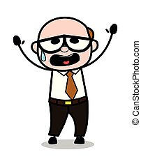 Help - Retro Cartoon Office old Boss Man Vector Illustration