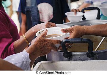 Help serving free food to the poor Needy : concept  Hunger