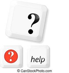 Help Sign Key Set - Help sign on computer key. Vector...